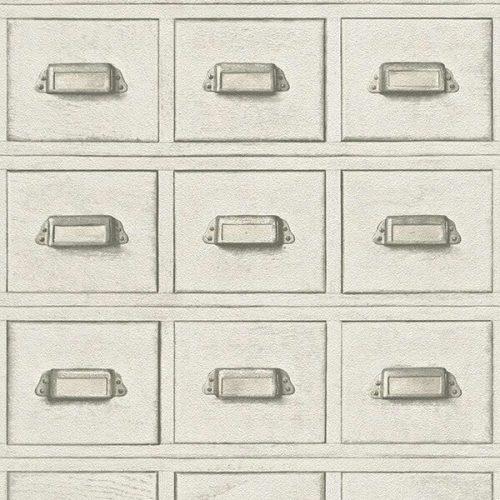 3D Wooden Drawer Wallpaper – White