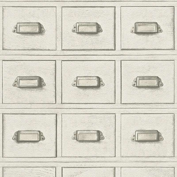 3D Wooden Drawer Wallpaper – White