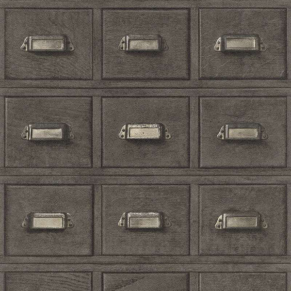 3D Wooden Drawer Wallpaper – Brown