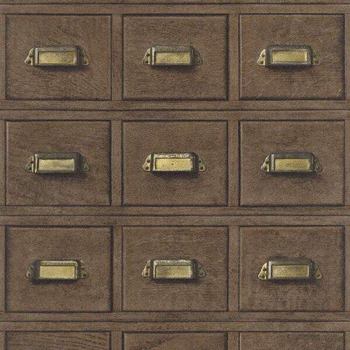 3D Wooden Drawer Wallpaper – Dark Borwn