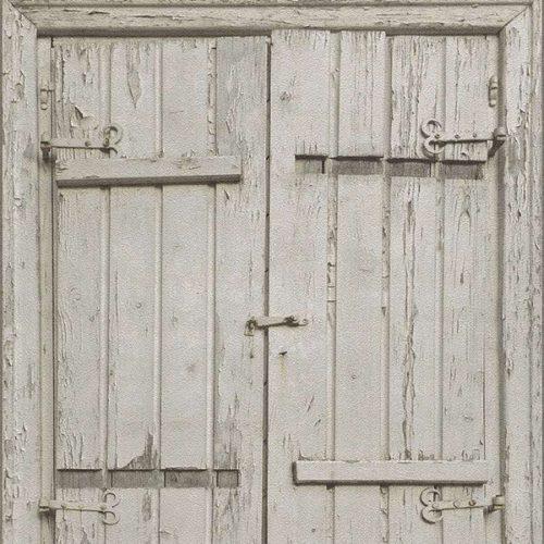 Wooden Door Wallpaper – White
