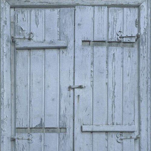 Wooden Door Wallpaper – Blue