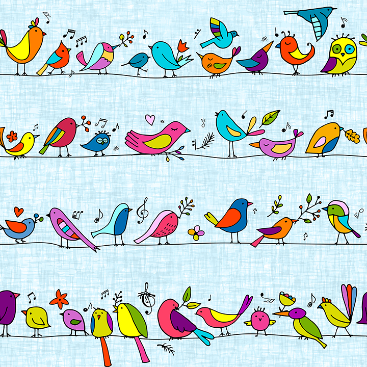 Singing Colorful Birds wallpaper for kids and teens