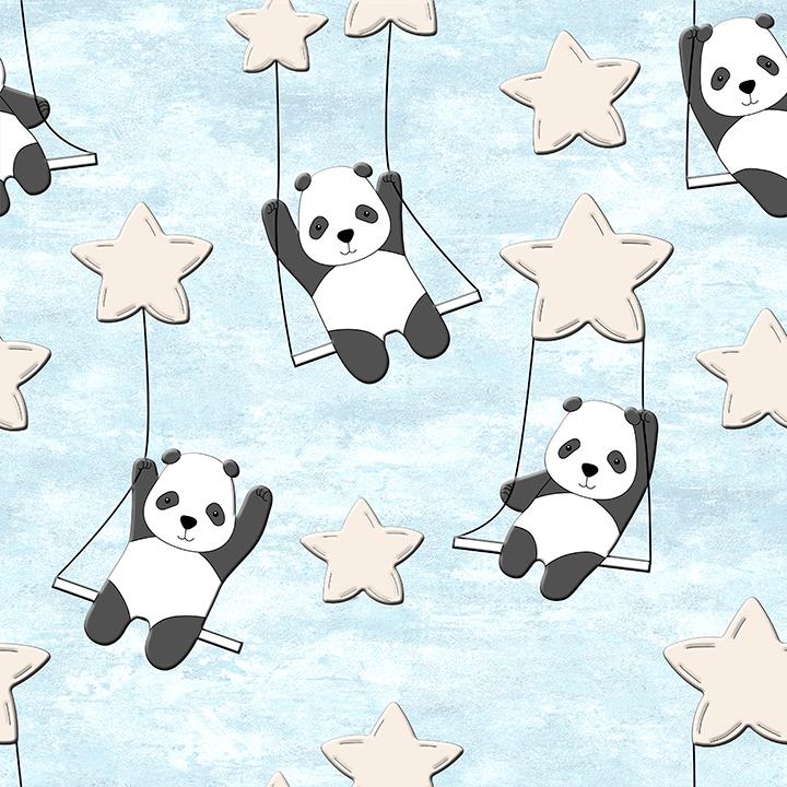 Cute Panda Swinging on stars Wallpaper for Kids and Teens
