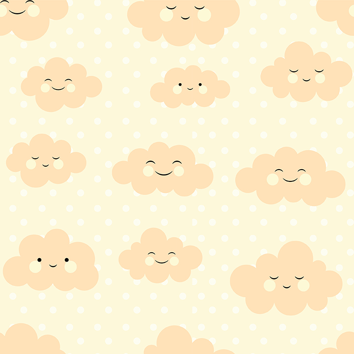 Happy Clouds floating on yellow sky Wallpaper for Kids and Teens