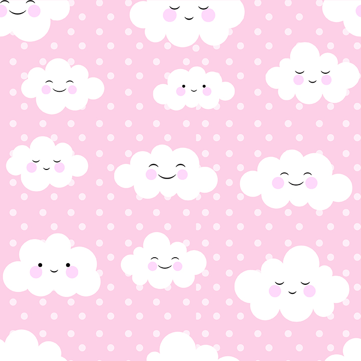 Happy Clouds floating on pink sky Wallpaper for Kids and Teens