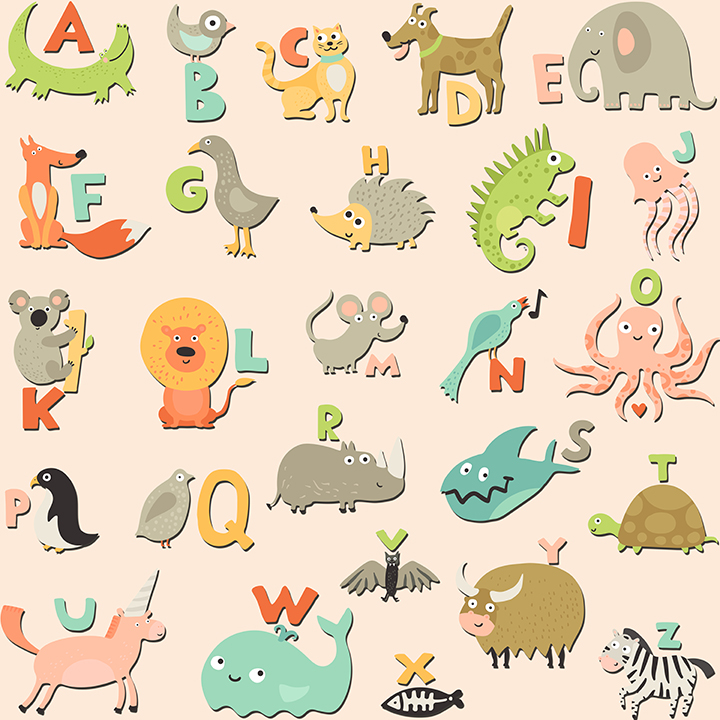 Alphabetical cute Animals Wallpaper for Kids and Teens