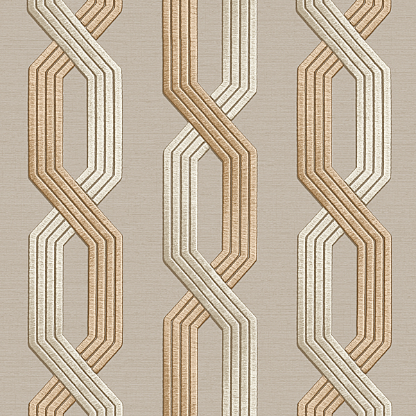 Geometric Interlocking pattern Beige Wallpaper Walltex by Marshalls