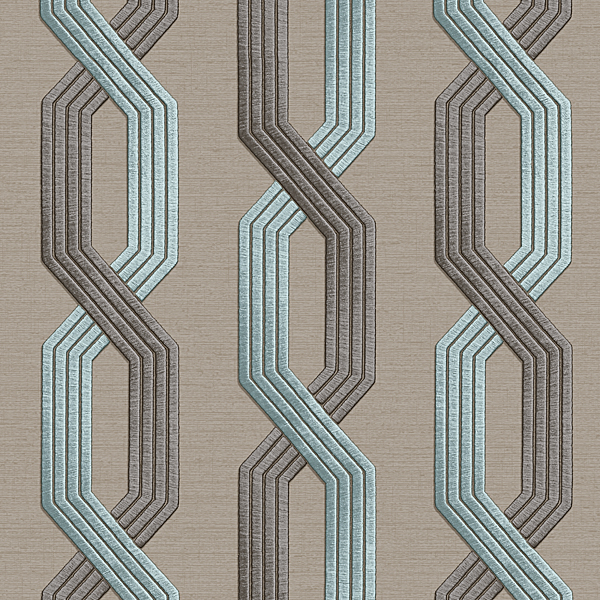 Geometric Interlocking pattern grey color Wallpaper Walltex by Marshalls